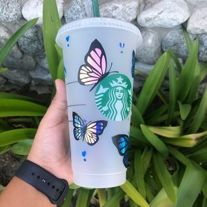 Starbucks Cup with Butterflies